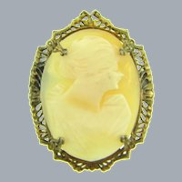 Vintage early thin shell Cameo Brooch in gold tone frame