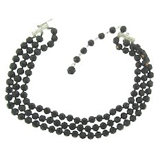 Vintage triple strand black faceted glass bead choker Necklace