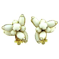 Signed Beau Jewels clip back tiered Earrings with milk glass stones