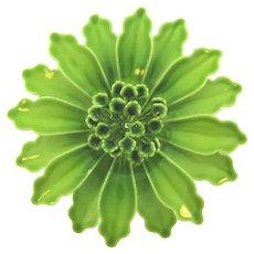 Vintage 1960's large metal green enamel flower Brooch