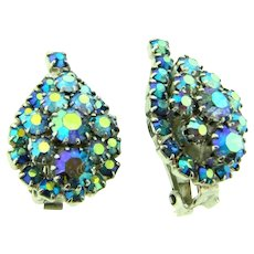 Vintage 1960's clip back Earrings with blue AB rhinestones