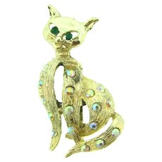 Vintage figural cat Brooch with AB and green rhinestones