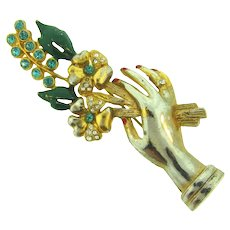Vintage large figural 1940's  Brooch of hand with flowers