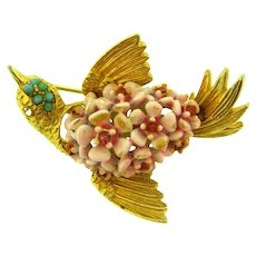 Signed SA with copyright symbol figural bird Brooch with enamel, beads and rhinestones