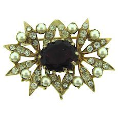 Vintage smaller Brooch with purple and crystal rhinestones and imitation pearls
