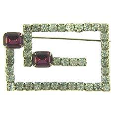 Vintage silver tone Brooch with crystal and purple rhinestones