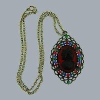 Vintage Cameo Pendant Necklace with multicolored rhinestones