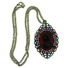 Vintage Cameo Pendant Necklace with multicolored rhinestones