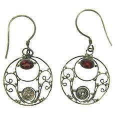 Vintage silver wire Earrings for pierced ears with genuine garnet stones