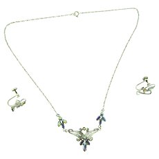 Marked Sterling petite Necklace and screw on Earrings with AB rhinestones
