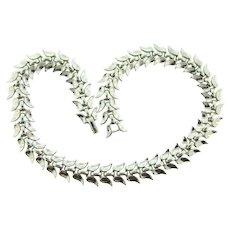 Signed Trifari pat.pend. silver tone link choker Necklace