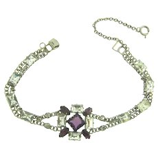 Vintage silver tone double chain Bracelet with crystal and purple paste stones