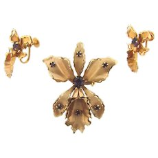 Signed B N (Bugbee Niles) on screw on earrings only orchid Brooch and screw on Earrings