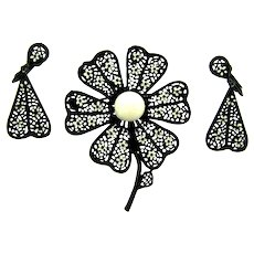 Vintage 1960's enamel flower Brooch and clip back earrings