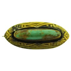 Vintage early small Bar Pin with turquoise stone