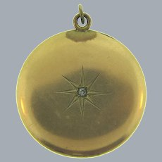 Antique gold filled Locket with paste stone, old picture and religious medal