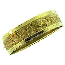 Vintage hinged gold tone bangle Bracelet