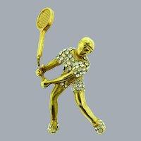 Vintage trembler figural tennis player Brooch with crystal rhinestones
