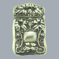 Antique sterling silver Art Nouveau repousse Match Safe
