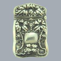 Antique sterling silver Art Nouveau repousse Match Safe