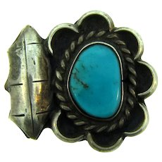 Vintage Navajo Southwestern sterling silver Ring with turquoise stone