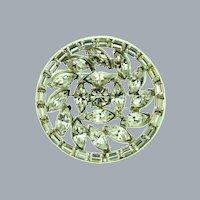 Vintage circular silver tone Brooch with crystal rhinestones