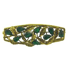 Marked Czechoslovakia vintage long gold tone Brooch with emerald green rhinestones