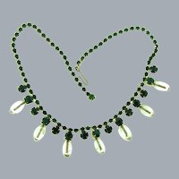 Unusual vintage choker Necklace with emerald rhinestones and clear glass beads