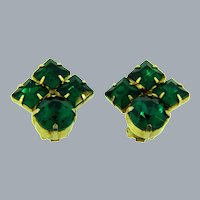 Vintage clip back Earrings with emerald green rhinestones