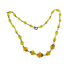 Vintage amber faceted glass bead choker Necklace
