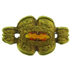 Vintage early gold tone Brooch with amber glass stone