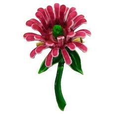 Vintage smaller metal flower Brooch with enamel