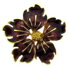Vintage floral Brooch with mauve enamel petals