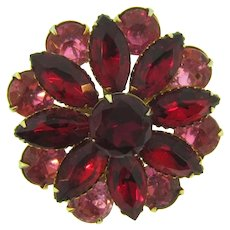 Vintage floral Brooch with pink and red rhinestones