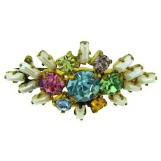 Marked Made in Germany smaller Brooch with colorful rhinestones