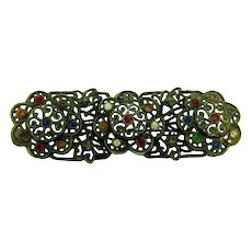 Vintage open lacy silver tone Bar Pin with multicolored rhinestones