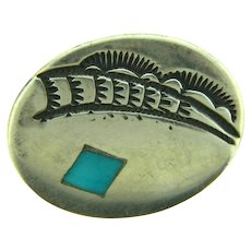 Vintage Native American sterling silver Scatter Pin with turquoise stone