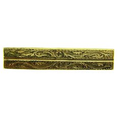 Vintage early gold tone Bar Pin with a repousse design