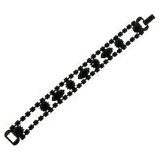 Signed Weiss black rhinestone Bracelet