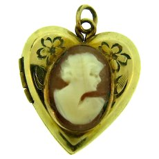 Small vintage charm Locket with cameo