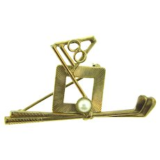 Signed Hobe novelty golf themed Brooch with imitation pearl