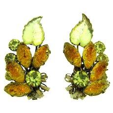 Vintage gorgeous large clip back Earrings in fall shades of rhinestones