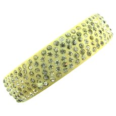 Vintage celluloid bangle Bracelet with six rows of crystal rhinestones