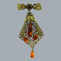 Vintage dangling Brooch with Lucite drops and amber rhinestone
