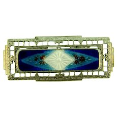 Vintage early silver tone Bar Pin with enamel center design
