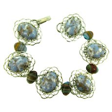 Vintage silver tone link Bracelet with art glass cabochons