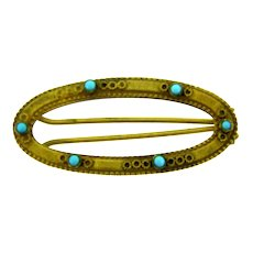 Vintage gold tone hair barrette with small turquoise glass beads