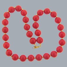 Vintage red plastic bead choker Necklace with gold tone spacer beads