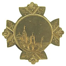 Vintage early gold tone Brooch with chased castle scene