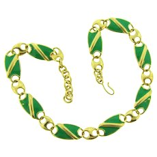 Signed Monet gold tone link choker Necklace with green enamel